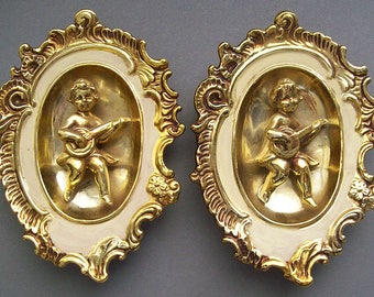 Vintage 1950's-1960's Pair of Ceramic GILDED MUSICAL CHERUBS Oval Plaques – Dimensional - Hollywood Regency – French Style -Romantic- Angels