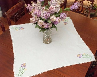 "Vintage Hand Embroidered Tea Tablecloth, 30"" x 30"", Iris Embroidery, Purple and Yellow Iris, Springtime, Tea Party, Cottage, Farmhouse"