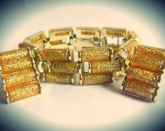 Amazing Charel Gold Glitter Lucite set - Vintage 1950's Designer Bracelet Clip on Earrings Demi Parure -signed Mid Century Glamour MINT cond