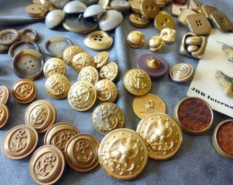 Vintage BUTTON LOT 90 Pieces Mostly Brass Metal Navy Anchor