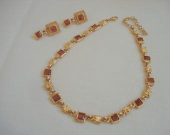 Vintage Amber Soft Square Bead Gold Nugget Necklace Earring Set #213