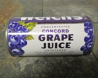 vintage 1965 WELCH'S Concord Grape Juice 12 ounce tin can , concentrated grape juice can