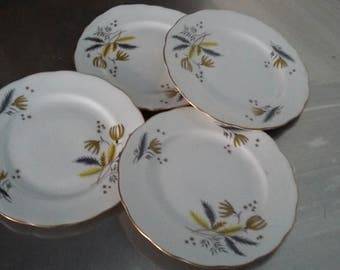 4 Vintage Retro Colclough Bone China Tea Plates Yellow and Grey