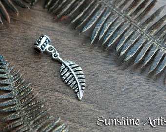 Fern Leaf charm bead, Dread charm, bracelet charm, necklace pendant, Choose your own hanger bead, natural earth, Tibetan silver charm