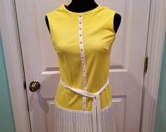 Vintage 60's Mod Drop Waist Pleated Dress