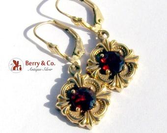Vintage Dangle Garnet Earrings 14 K Gold