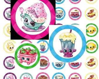 Shopkins Chef Club with Princess Cupcake 1 inch Printable Bottlecap Cabochon Digital Collage