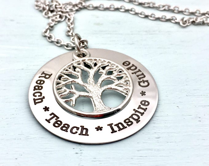 Reach-Teach- Inspire-Guide-Teacher-Mentor-Pendant Set-school-student