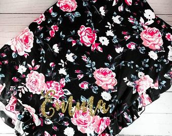 Personalized Baby Blanket Baby Minky Blanket Newborn Blanket Baby Shower Gift Stroller Blanket Pink and Black Baby Girl Blanket