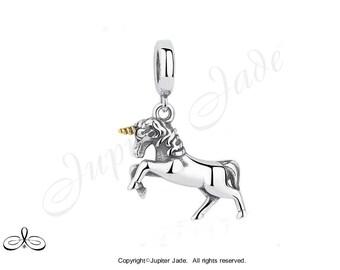 Authentic 925 Silver European Bracelet Charm - 2 Tone Gold / Silver Unicorn Dangle w 14kt gold plated horn - Size compatible w Pandora