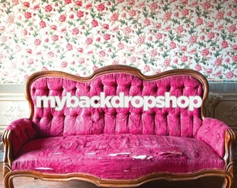 8ft x 8ft Shabby Floral Wallpaper Photo Prop - Burgundy Sofa Couch Photography Backdrop -  Full Room Photo Prop - Item 3056