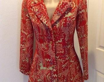 Vintage Patty Woodard Mod Jacket Brocade tapestry 1970s Hippie Boho