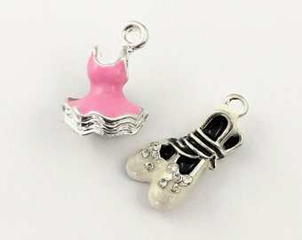 2 ballerina shoe and tutu charms pink enamel and gold tone, 20mm to 23mm # CH 363