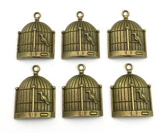 6 bird cage charms bronze tone, 30mm# CH 259