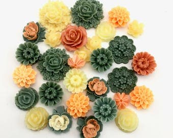30 resin cabochon flowers ,10mm to 23mm,#FL 141