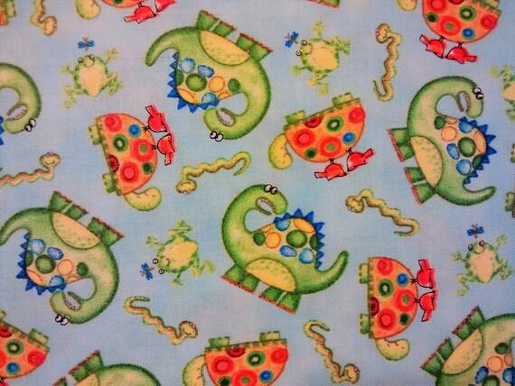 Dinosaur fabric by the yard quilting nursery baby boy for Baby dinosaur fabric