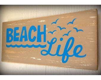 Beach Life Sign, Beach Sign, Beach Decor, Beach House Decor, Beach House Sign, Summer, Rustic Beach Sign, Epsteam, Wood Sign, Custom Colors!