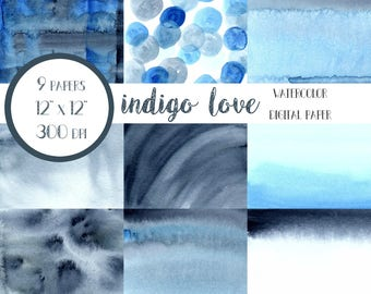 Indigo Digital Paper, Blue Digital Paper, Indigo Watercolor Paper, Blue Watercolor Washes, Digital Paper Pack, Digital Paper Download