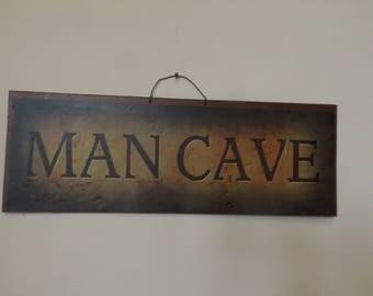 "Vintage Man Cave sign. 18.5""L x 6.5""H  home decor sign Gift idea"