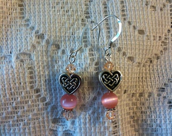 Pink cats eye and silver pierced earrings with Celtic knot heart shape beads