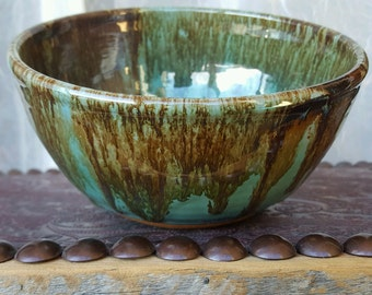Charming Turquoise and Brown Stoneware Pottery Bowl, Soup Bowl, Cereal Bowl, Handmade Bowl