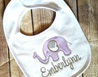 Personalized Bib - Monogram Bib - Embroidered Bib - Newborn - Baby - Baby Girl - Baby Shower Gift - Elephant