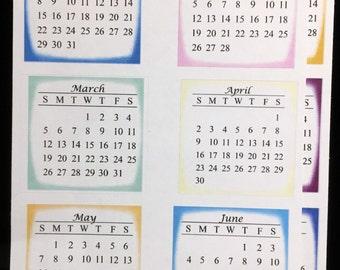 2017 Mini-calendar Bullet Journal Stickers