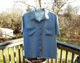 Boxy Blue Silk Blouse (S)