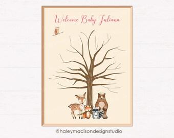 Woodland GIRL Baby Shower Fingerprint Tree Decoration, Finger print sign, Woodland Baby Shower sign, DIGITAL FILE