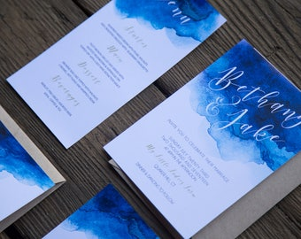 Blue Watercolor Boho Wedding Invitation & Reply Card DIY Printable