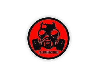 """2 pack - Biohazard Gas Mask - 2"""" Full Color Printed Vinyl Stickers - Hard Hat - Helmet - Phone - Laptop - Etc."""