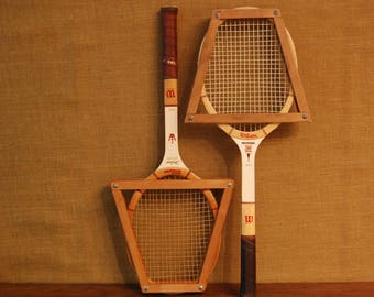 Vintage Pair of Wood Tennis Rackets, Wilson wood tennis rackets, classic wood tennis rackets with wood frames and leather handles