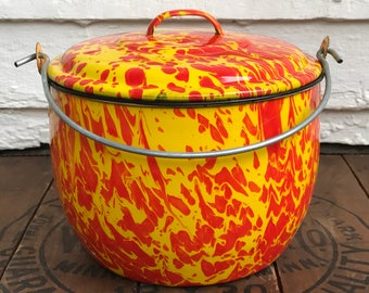 red & yellow swirl graniteware pot with lid ~ hard to find graniteware ~ yellow and red speckled enamelware pot ~ rustic farmhouse decor