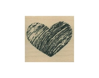 "Scribble Heart UNMOUNTED Rubber Stamp, 1-1-4"" T x 1-3/8"" W (C557)"