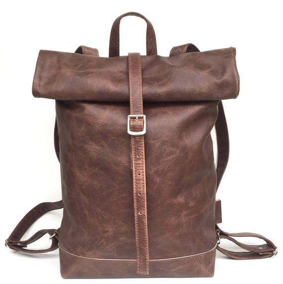 Leather backpack brown, rolling backpack , backpack leather , brown leather backpack