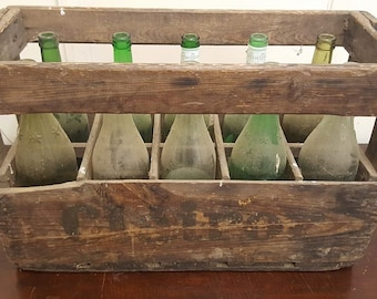 "1 x FRENCH WINE CRATE with bottles!"" - Genuine Wooden Original Vintage Crate industrial Wine Box Rustic Shabby Chic"