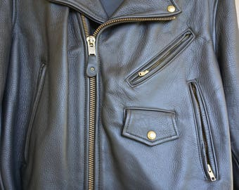 Vintage Black Leather Motorcycle // Biker Jacket MENS Size 48 Large 1980s 1990s 80s 90s HEAVY XL