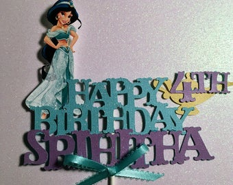 Jasmine Cake Topper , Aladdin Cake Topper, Jasmine Birthday Party Aladdin Birthday,Cake Topper, Aladdin Party, Centerpiece, Aladdin Banner