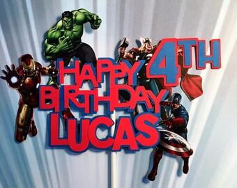 Avengers Cake Topper, Avengers Birthday Banner, Avengers Birthday, Personalized Cake Topper, Avengers Centerpiece