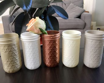Quilted Mason Jar Vase - Set of 3