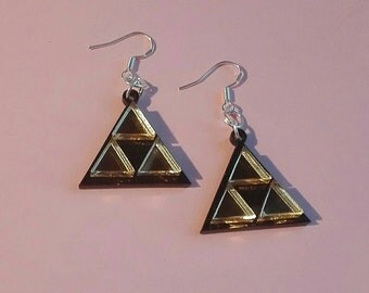 Tri Force Zelda Inspired Earrings, Mirrored Acrylic, Geek, Retro, Gaming, Gifts For Geeks, Jewellery