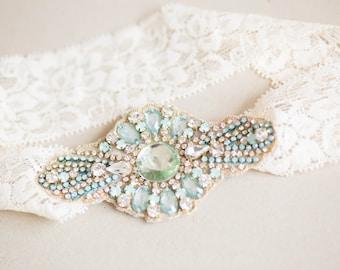 Mint Opal Wedding GarterSet, Bridal Garter, Garter Set - Style GS19