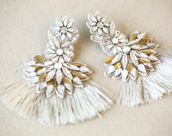 Statement Wedding Earring with Tassel - Silver and Gold Bridal Earring - Style E11