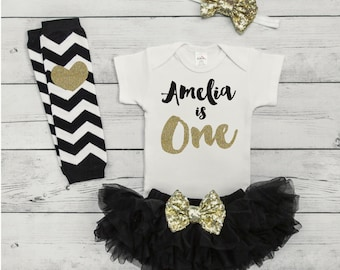One Year Old Girl Birthday Outfit Girls First Birthday Outfits Girl 1st Birthday Girl Outfit Personalized Black and Gold Outfit Set 091S