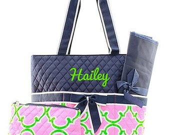 Personalized Moroccan Navy Blue Pink Lime Green Diaper Bag Quilted Baby Tote