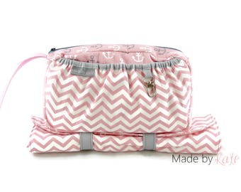diaper bag, small diaper bag, happy baby bag, diaper clutch, wristlet for diapers, compact diaper bag, pink baby bag