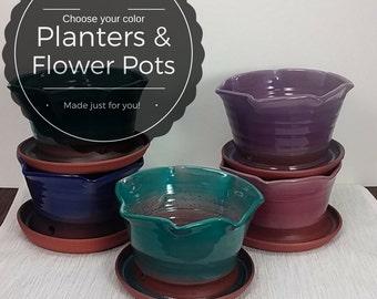 Medium custom pottery planter, ceramic houseplant pottery decorative flower pot clay indoor or outdoor garden planter container garden gift