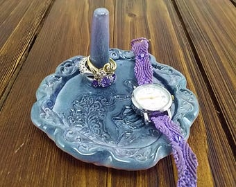 Cermaic ring holder dish, Deep mighnight purple ceramic ring dish holder engagement ring bowl, bridal shower gift jewelry bowl by W summers