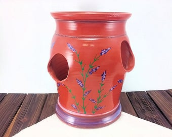 Large terracotta ceramic strawberry jar pot, hens and chicks pottery pocket planter, flowerpot