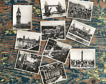 Vintage Set of 10 Black and White Photographs of London Landmarks